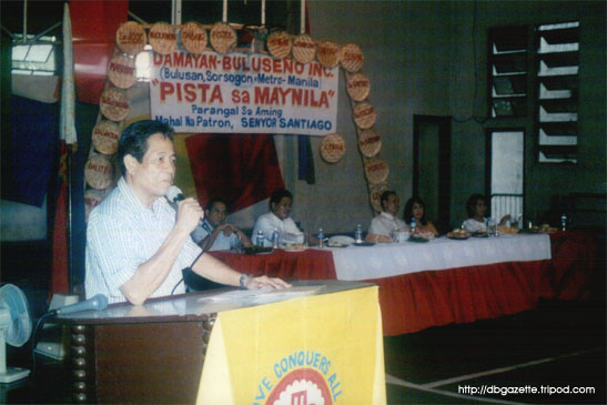 Ret. Maj. Gen. Cesar F. Fortuno speaking before the crowd of Buluseños gathered for the occasion