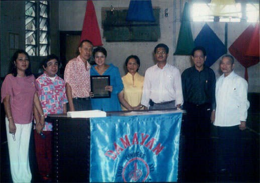 Plaque of Appreciation for the senator. In photo are: (L-R) Marichu Fuentes-Arellano, Andrew D. Espedido, DBI President Rogelio F. Fuentes, Sen. Madrigal, 1st Vice-President Luz Z. Gamba, 2nd Vice-President Engr. Pablito R. Freo, Ret. Maj. Gen. Cesar F. Fortuno, and Bro. Ulpiano Sorra